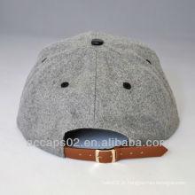 Chapéu de snapback de cinta de aba plana de couro