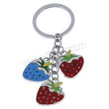 Erdbeer-Emaille-Zink-Legierungs-Schlüsselkette