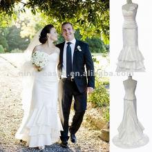 NY-1566 Rolded strapless com vestido de casamento drapejante