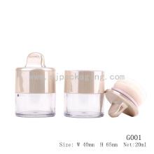 Elegantes Gold Kosmetik Verpackung Pulver Puff-Container benutzerdefinierte lose Pulver Glas mit Puff lose Pulver Container mit Sichter