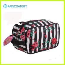 600d Polyester Schwarz Streifen Kosmetische Handtasche Rbc-053