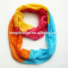 Yarn dyed fashion yong tube scarf with rainbow printing