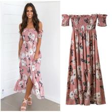 Мода леди женщины макси платье дешевые розовый цветочный печатных смарт-макси повседневные платья