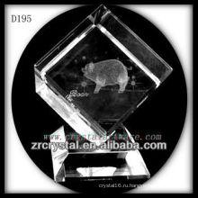 K9 лазерный 3D Свинья внутри кристалла куба