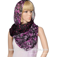 2016 lady double layer printed polyester voile infinity scarf loop scarf with custom design