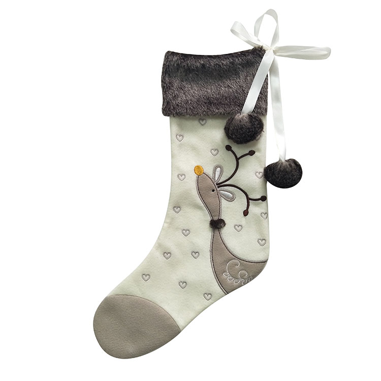 Velvet Reindeer Christmas Stocking