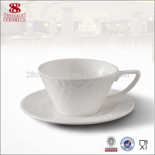 Eco-friendly tableware , embroidery white coffee cup with plate for wholesale