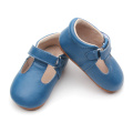 Kanak-kanak Warna Pepejal T-bar Blue Soft Leather Shoes