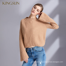 Lady Styles Kamel Wolle Kaschmirpullover Lautsprecher Sleeves Pullover