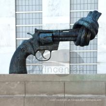 Projeto Popular Significativo Metal Craft Escultura Knotted Gun Bronze