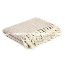 100%Pure Cotton Throw with Herringbone Weave/Organic Cotton Throw