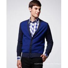 V-Neck Saddle Shoulder Wool Man Cardigan with Button