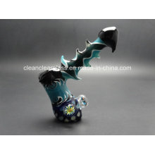 Factory Wholesale Heady Colored Glass Bubbler Glass Pipe Hand Pipe 15.5cm