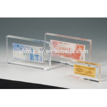 transparent cheap paper weight logo block with embedment