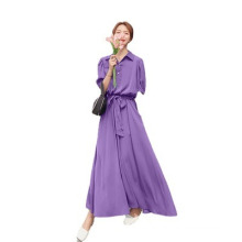 New Lapel Solid Color Women′ S Skirt Purple Long Chiffon Dress