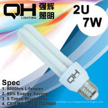 2U 7W ahorro luz/CFL luz/ahorro luz/ahorra energía luz E27 6500K