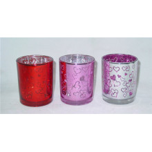 Colorful Silver Plating Glass Candle Holder/ Candle Cup