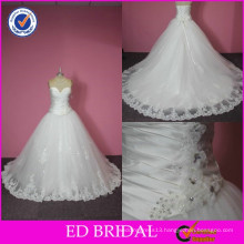 ED Bridal Top Bride Real Photo Sweetheart Pleated Beaded Handmade Flowers Ball Gown Wedding Dress in Cream Color