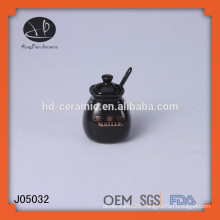 ceramic salt pot with spoon,small glazed ceramic storage jar,black seasoning jars