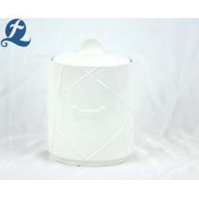 Pot de stockage de nourriture en céramique à motif imprimé personnalisé avec couvercle sculpté