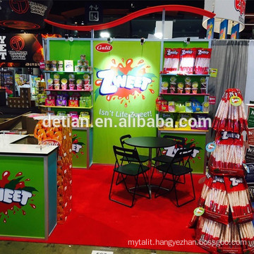 custom 10x10 booth for tradeshow made of tension fabric, with colorful shelfings