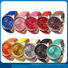 Neue Mode Runde 2 Zonen Damen Günstige Leder Uhr
