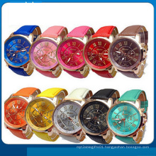 New Fashion Round 2 Zones Ladies Cheap Leather Watch