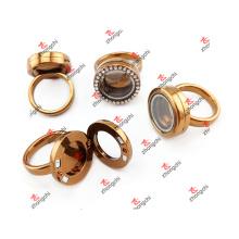 Сплав кофе цвета кристалла Rhinestone Кольца Locket Любовь Подарки (CRR51023)