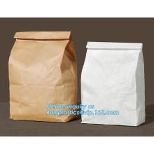 Recyclable sandwich bread food packaging brown paper bag, hamburger food delivery kraft paper packaging bag, Grocery Food Take A