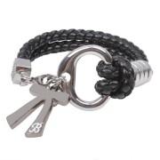 Zinc alloy bow shape charm bracelet with letter B engraved handwoven leather bracelet for men wholesale price high quality