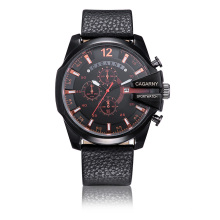 6839blk Big Dial Sports Assista 3eyes Pushers, Relógio Multi-Functionquartz