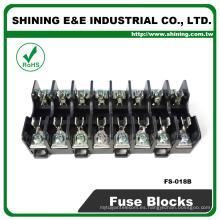 FS-018B 600V de 10 amperios de 8 vías Mid Type din de vidrio Fusible portafusibles