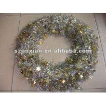 Золото ПВХ с маленькие звезды Рождественская елка украшения