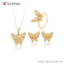 60823-xuping colorful zircron fashion newest pendant beautiful butterfly jewelry sets