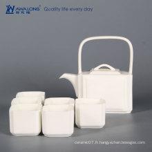 Culture chinoise de café et thé chinois antique / théière blanche et tasse à thé 6pcs avec matériel en porcelaine