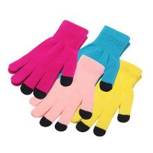 Precio más barato 3 dedos guantes de pantalla táctil de invierno cálido acrílico guantes de pantalla táctil guante para iphone teléfono inteligente
