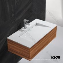 Évier de salle de bains de surface solide, bassin plein de lavage de pied de surface, armoires de base d'évier de salle de bains