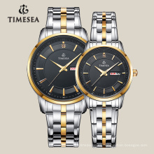 Reloj de diseño más nuevo para pareja con banda de acero inoxidable 70001