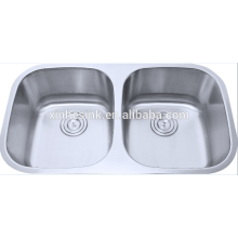 Stainless steel undermount double bowl mexican copper sink
