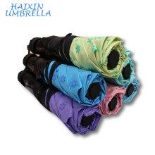 Cheapest OEM Best Price 6 Colors 7K Convenient Anti-uv Travel Fashion Women 3 Folding Ultra Mini Pocket Umbrella for Wholesale