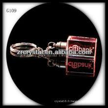 Keychain en cristal de LED avec l'image gravée par laser 3D à l'intérieur et le keychain en cristal blanc G109