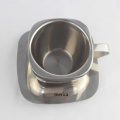Stainless Steel Double Wall Square Coffee Cup with Plate