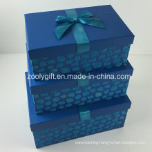 Custom Design Flocking Ribbon Decorated Paper Gift Storage Box