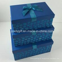 Custom Design flocagem fita decorados papel caixa de armazenamento de presente