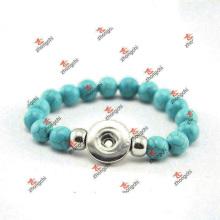 Moda personalizado verde cor bead snap bracelete jóias (dae60226)