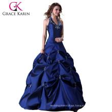 Grace karin Azul Ball Halter Backless vestidos baratos Quinceanera vestidos CL3108