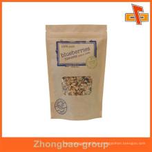 Impresión a medida de color marrón papel kraft bolsa de alimentos para merienda
