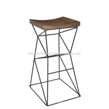 Industrial High Metal Wooden Bar Stool