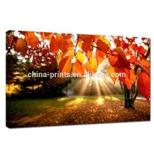 Vermelho deixa a cópia da imagem na lona / impressão natural da lona para a decoração Home / lona da lona do algodão