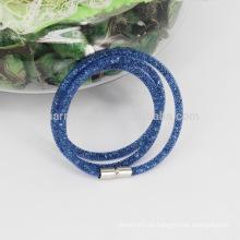 2015 Venta caliente 3 envoltura pequeñas pulseras de Stardust malla con piedras de cristal lleno de corchetes magnéticos encanto pulseras brazaletes para las mujeres